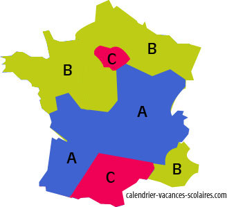 Carte zones vacances scolaires en france par acad mies for B b carte france